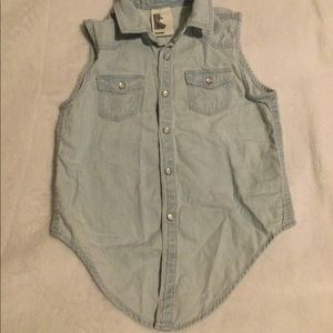 H&M &Denim Children Sleeveless Denim Shirt S:5/6Y